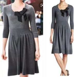 Kate spade NY gray wool black bow sweater dress